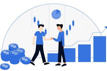 Digitalização B2B: Duas pessoas, um o cliente e outro a empresa, apertando as mãos. Atrás gráficos e moedas representando crescimento.
